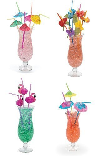 4 Dozen Assorted Tropical Drinking Straws Luau Wedding Hawaiian Umbrella Flamingo Flower