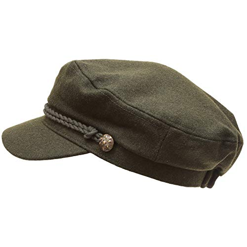 MIRMARU Women's Classic Mariner Style Greek Fisherman's Sailor Newsboy Hats with Comfort Elastic Back (3034 Olive) -