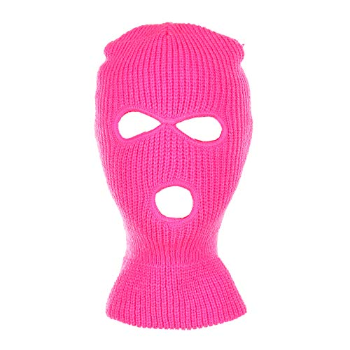 - Knitted 3-Hole Full Face Cover Ski Mask (Neon Pink)