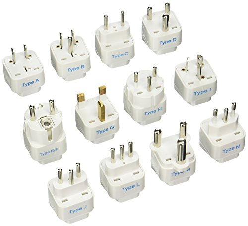 Ceptics GP-12PK International Travel Worldwide Grounded Universal Plug Adapter Set, 12 Pieces