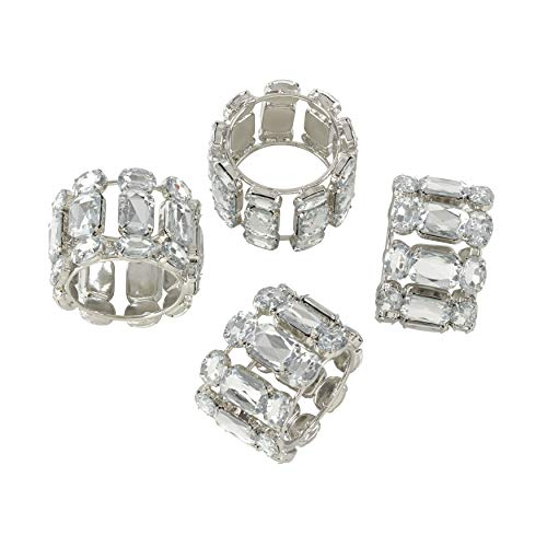 SARO LIFESTYLE NR028.C Collection Jeweled Gem Stone Napkin Ring - Set of 4, 4