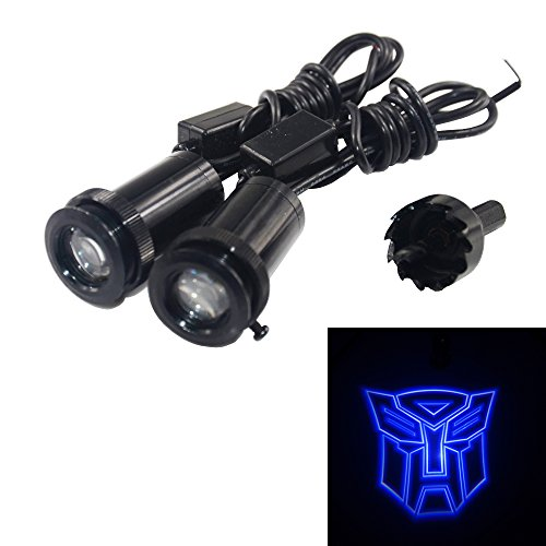 Spoya Blue The Transformers Autobots Wired CREE 3W LED Car door logo shadow ghost light welcome courtesy LED projector ()