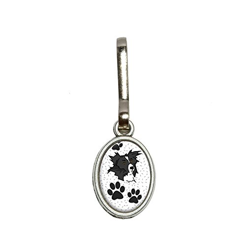 Border Collie of Excellence Antiqued Oval Charm Clothes Purse Luggage Backpack Zipper Pull