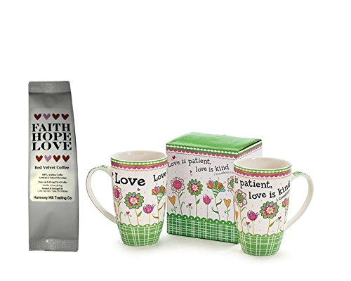 Love is Patient Love is Kind 1 Coffee Mug Cup with 1 Faith Hope Love Red Velvet Coffee 1 Corinthians 13 Christian Scripture Gift Set 2 Item Bundle Scripture Tea Green Tea