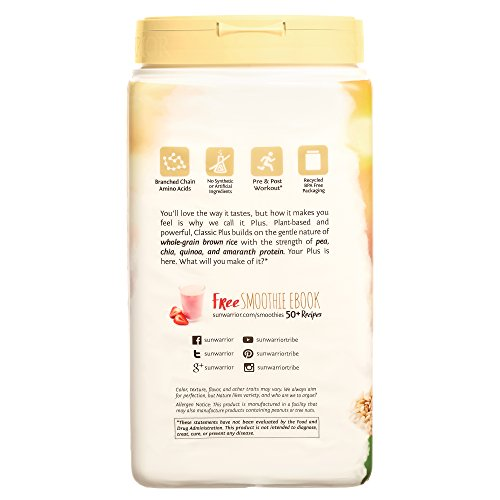 Sunwarrior Classic Plus, Vegan Protein Powder with Peas & Brown Rice, Raw Organic Plant Based Protein, Vanilla, 30 Servings
