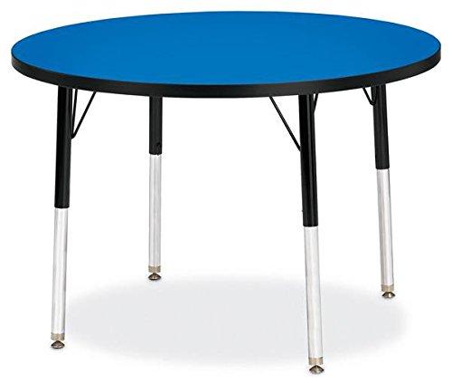 Jonti-Craft Kydz Activity Table Blue Top/Black Edge/36 Diameter/Adult Height