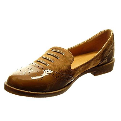 Angkorly - Chaussure Mode Mocassin Derbies bi-matière slip-on femme verni perforée lacets Talon bloc 2 CM - Camel