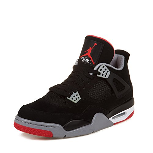 newest collection c1ed4 de50a Mens Nike Air Jordan Retro 4 Basketball Shoes Black   Cement Grey   Fire Red  308497-089 Size 12 - Buy Online in Oman.   Misc. Products in Oman - See  Prices, ...