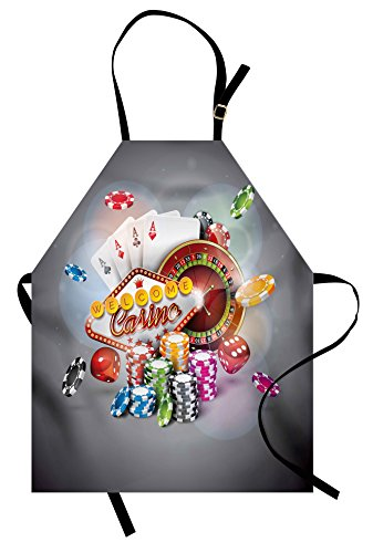 Lunarable Poker Tournament Apron, Welcome to Casino Colorful Chips and Cards Dice and Roulette Win Jackpot, Unisex Kitchen Bib with Adjustable Neck for Cooking Gardening, Adult Size, Red Yellow]()