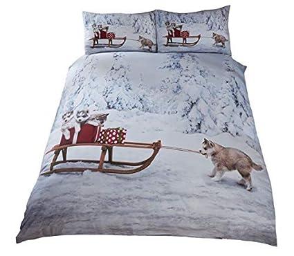 Weihnachten Husky Hund Welpen Schlitten Schnee Bäume Weiß Doppel 6 Stück Bettwäsche