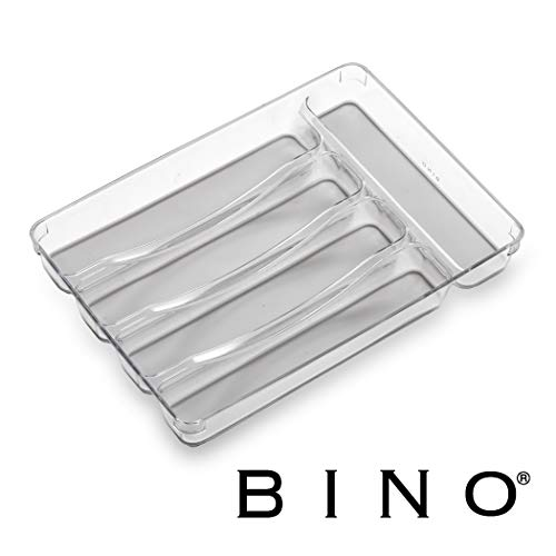 BINO 5-Slot Silverware Organizer, Light Grey - Utensil Drawer Organizer with Soft Grip Lining