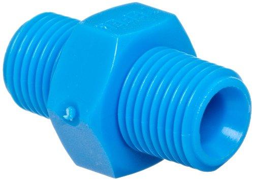 Tefen Nylon 6/6 Pipe Fitting, Hex Nipple, Blue, 1/4