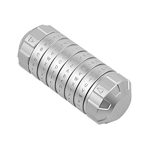 RAPIDLY Retro Cylinder Lock Box Metal Da Vinci Code Alphabet Lock Jewelry Box (Silver)