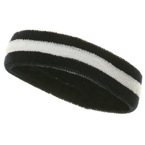 Navy Blue Striped Headband - Striped Cotton Terry Cloth Moisture Wicking Head Band (Navy/White)