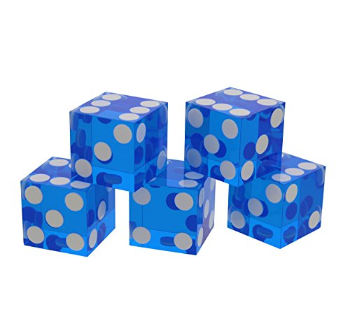 Get Out! Precision Casino Dice 6-Sided 19mm Game Playing Dice, Translucent Blue, Set of 5 for Craps, DnD D&D, RPG, D6 (Inlaid Dice)