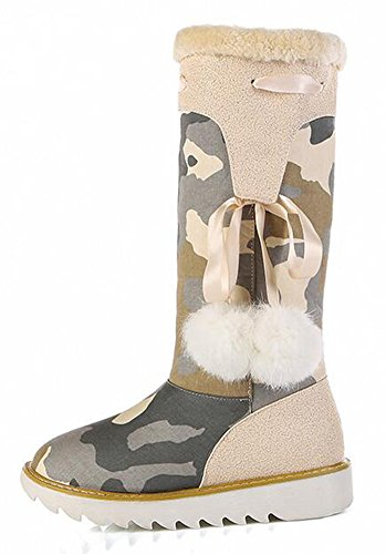 CHFSO On Platform Boots Stylish Low Camouflage Heel Fur Fully Winter Snow Womens Mid Pull Calf Apricot Lined Canvas nrrqOx8awg
