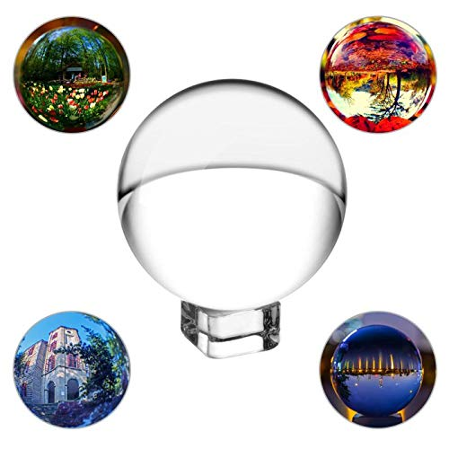 SunAngel 80mm/3inch,K9 Clear Crystal Ball Globe with Free Crystal Stand for Feng Shui/Divination or Wedding/Home/Photography or Office Decoration (80MM with Crystal Stand) by SunAngel