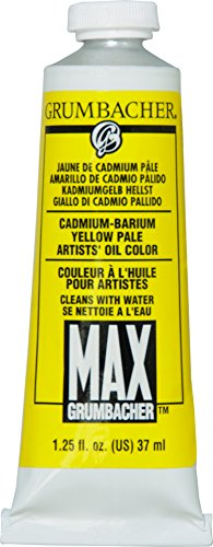Grumbacher Max Water Miscible Oil Paint, 37ml/1.25 oz, Cadmium-Barium Yellow Pale by Grumbacher