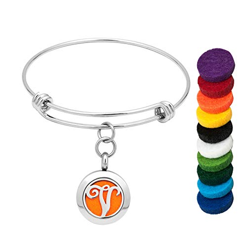EV.YI Jewels Name Monogram Initial V Aromatherapy Jewelry Gift for Women Men Diffuser Bracelet for Essential Oil Perfume Locket Pendant with Colorful Refill Pads