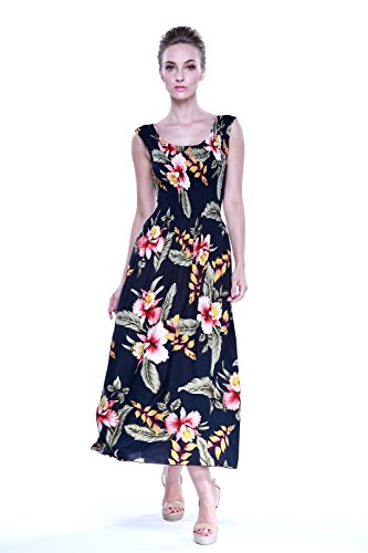 Tropical Group Women's Hawaiian Maxi Tank Elastic Luau Dress Black Rafelsia Floral, OneSize. (Hawaiian Party Dress)