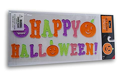 Spooky Town Halloween Gel Window Clings - Happy Halloween with Pumpkins - 21 Piece