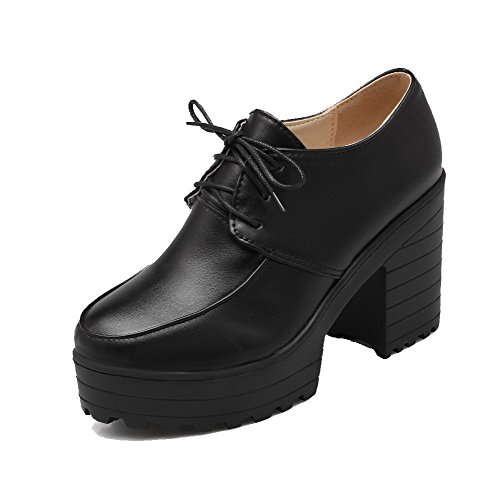 Odomolor Women's High-Heels PU Solid Lace-up Round-Toe Pumps-Shoes, Black, 38