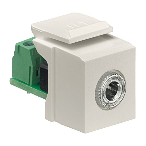 Leviton Snap In Jack - Leviton 40839-SIS QuickPort Snap-In Module with 3.5Mmm Stereo Jack, Female To Screw Terminal, Ivory
