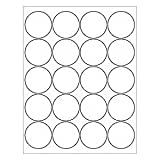 "(12 SHEETS) 240 2"" BLANK WHITE ROUND CIRCLE PRINTABLE STICKERS FOR INKJET & LASER PRINTERS ~ SIZE: 8-1/2""X11"" STANDARD SHEETS"