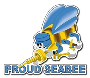 "US Navy Proud Seabee Decal Sticker 3.8"" by Vinyl USA"