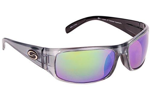 (Strike King Optics Polarized SG Okeechobee Sunglasses, Clear Gray Frame/White/Blue Mirror Amber Base Lens)