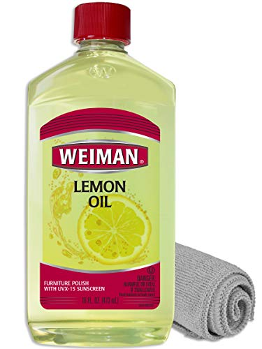 Weiman Lemon Oil for Wood and Microfiber Cloth - Ultra Violet Protection, Gently Cleans, Protects, Moisturizes, Restores and Conditions Wood