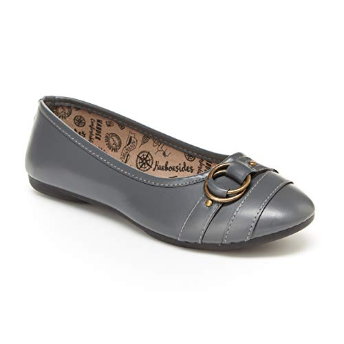 Harborsides Gene Women's Flats: Ballet Shoes with Comfortable Slip On Style Grey