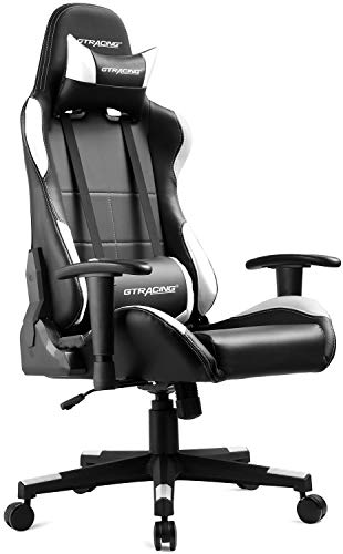GTRACING Gaming Chair Ergonomic Racing Chair PU Leather High-Back Adjustable Height Professional E-Sports Chair with Headrest and Lumbar Pillows GTBEE Series Black/White