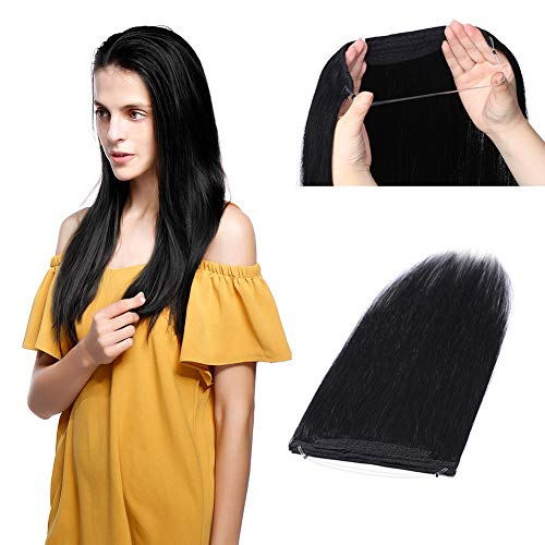 Thick Hidden Invisible Crown Human Hair Extension One Piece Secret Miracle Wire in Hairpieces No Clip No Tape in Remy Hair Translucent Fish Line Headband 100g 18''/18inch #1 Jet Black
