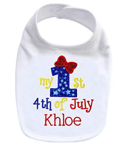 My First 4th of July Handmade PERSONALIZED Embroidered Patriotic Bib for Baby GIRL (White Bib) (White Bib/Royal Blue) ()