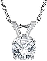 "1/2 ct Solitaire Round Diamond 14k White Gold Pendant & 18"" Chain"