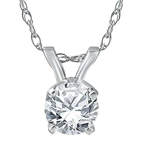 1/2 ct Solitaire Round Diamond 14k White Gold Pendant & 18