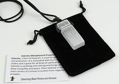 Dancing Bear Selenite Crystal Pendant Necklace, 24