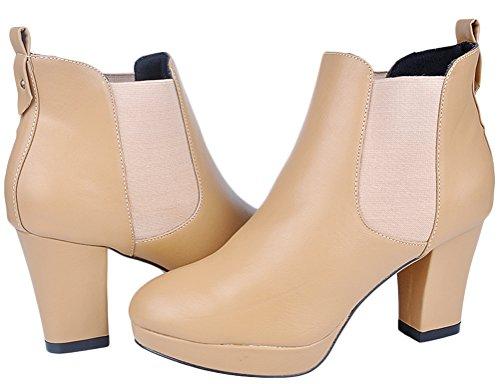 Salabobo 778-1PQ Ladies Comfort OL Job Bride Wedding Nightclub Platform Round Toe Block Heel Chukka Ankle Boots apricot YbDhfxiCX