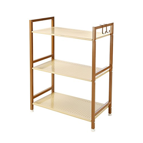 3 Tier Shelving Unit Kitchen&Home Storage Rack With Hook, Metal, GEYUEYA (Gold Shelf)