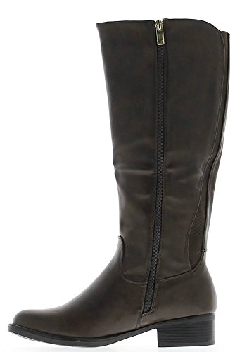 4cm Elastische Rute Quadrat Absatz Mit Brown stiefel Leder qt611