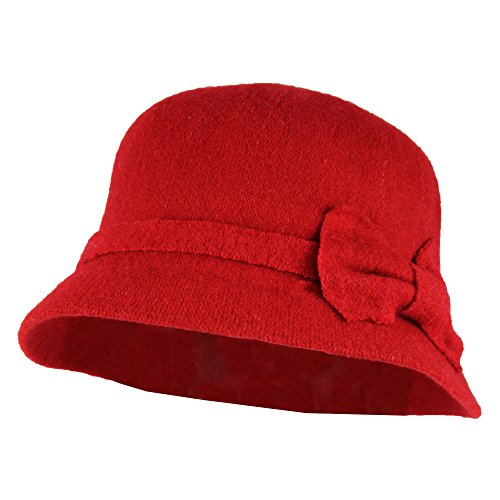Red Side Bow Winter Cloche Bucket Hat w/ Adjustable Inner Drawstring - 100% (Retro Bucket Hat)