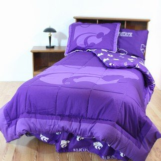 Bedskirt Twin Wildcats (Kansas State Wildcats 6 pc Twin Bed in a Bag and ONEValance - Includes: Reversible Comforter, 1 Pillow Sham, 1 Flat Sheet, 1 Fitted Sheet, 1 Pillow Case, Bedskirt & 1 Valance - Save on Bundling!)
