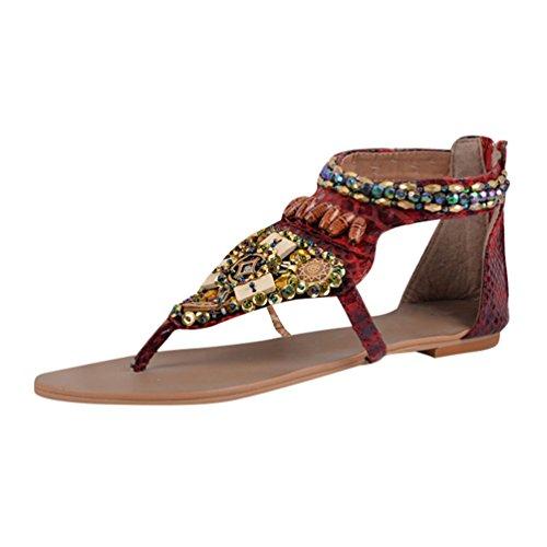 Perles Claret Femmes De Niseng Plates Sandales Style Rétro Sandales De Sandales Ethnique Bohême Été qq0SROw6