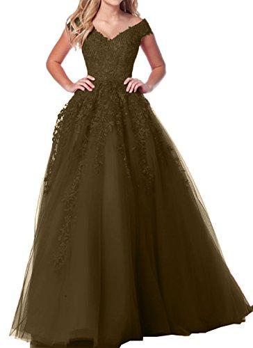 Ausschnitt A Abendkleider V Dunkel Damen Charmant Abschlussballkleider Linie Blau Spitze Prinzess Abiballkleider Braun 4xnHX4vRq
