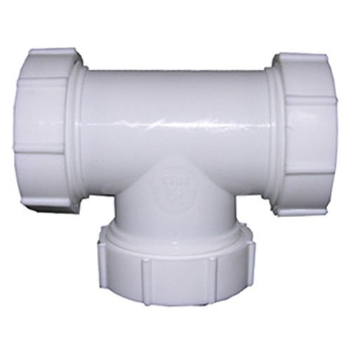 (LASCO 03-4277 White Plastic Tubular 1-1/2-Inch Slip Joint Tee with Nuts and)