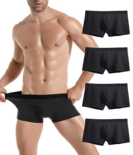 - Donpapa Mens Underwear Breathable Boxer Briefs Pack U Pouch Cotton Soft Shorts Pants No Fly for Boys(4 Black S)