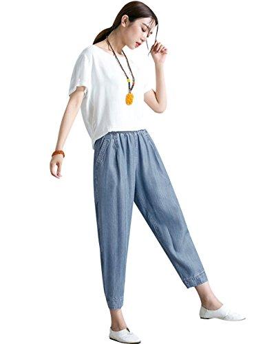 Style Printemps t 3 Sarouel Taille jeans Femmes elastique Youlee 08Ewx