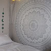 Geleneksel Hint Mandala-Hippie Duvar halısı, pamuk, duvar halısı Bohem-Stil, ombre, yatak örtüsü, pamuk, gri/gümüş, Queen (84x 90inç) (215x 230cm)