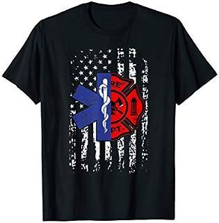 EMT Firefighter  Firefighter EMT American Flag Gift T-shirt | Size S - 5XL